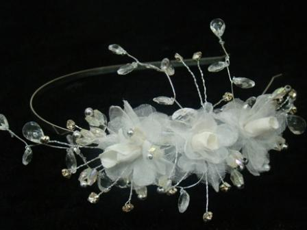 HD327 Silk Organza Blossom Crystal Band