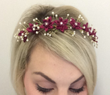 HD 243 Crystal centred Satin Blossom/Pearl Tiara