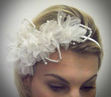 HD339 Organza Blossom Pearl Diamante Band