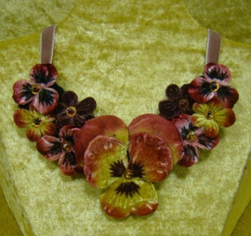 VN1 Hand painted Velvet Pansy/Blossom Necklace